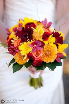 bridal bouquets with fall colors red roses sunflowers | Chrysanthemums- mums are a sturdy flower that won't wilt, green is ...