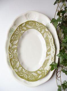 2 Vintage Platters Owens Minerva English Staffordshire J&G Meakin England Serving Entertaining Dining Wedding Housewares Home Decor