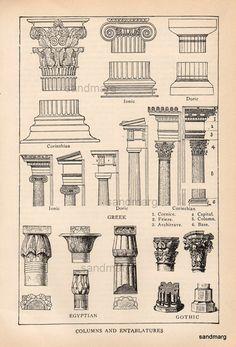 Antiguo Print arquitectónico eduardiano de columnas y entablamentos egipcio…