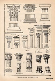 Antique Edwardian  Architectural Print of Columns and by sandmarg, $14.99