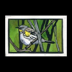 Sherrie York (Rio Salida Art) ~ Audubon's Warbler ~ hand painted linocut, Arches 140 lb cold press paper, Daniel Smith relief ink, watercolors, 5 x 3 inch