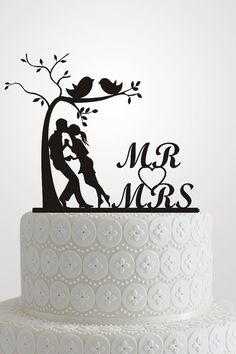 MR MRS Wedding Party Silhouette Cake Topper Bride and Groom