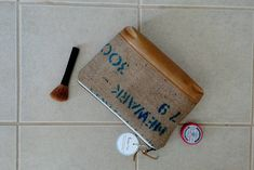 Purple Tan and White Burlap Zipper Case toiletry bag