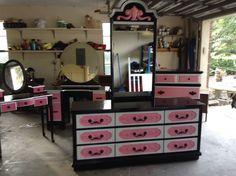 Black Hot pink and white dresser