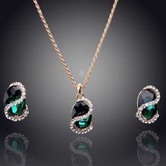 Grátis frete atacado 2014 New Arrival colar / brincos 18 K banhado a ouro de casamento conjuntos de jóias para noivas moda jóias