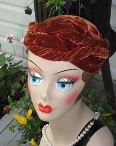 Vtg Brown Velvet Cloche Turban Skull Cap Gatsby Flapper Dress Hat 1920s 30s
