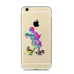 Cartoon Animal Kissing Mickey Minnie Mouse Soft Clear TPU Case for iPhone7 7 PLUS 6s 6 5s 5 Ariel little Mermaid watercolor Case