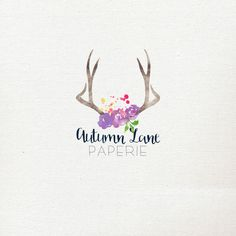Pre-Made Watercolor Logo  Deer Logo  Antler by AutumnLanePaperie