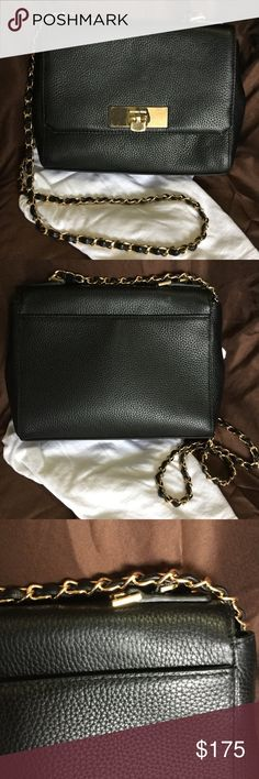 "Michael Kors Crossbody Gorgeous Black pebble leather Crossbody body in near perfect condition. Has slight mark on back, see pic 3, slight scratches on hardware on closure. Missing top handle, Inside is perfect. No corner wear, beautiful feel to this bag! Strap drop 25"" perfect for any outfit! Michael Kors Bags Crossbody Bags"