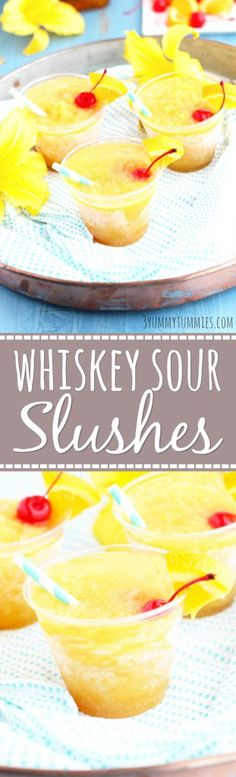These Whiskey Sour Slushes are frozen overnight for the perfect summer party cocktails.