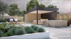 What is a Modern Garden? Modern Landscaping, Backyard Landscaping, Outdoor Rooms, Outdoor Living, Modern Pool House, Moderne Pools, Backyard Buildings, Outside Living, Garden Pool