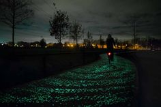 smart-highway-roosegaarde-Bicycle Path use special paint that charges in daylight and embedded LEDs powered by a nearby solar array. Studio Roosegaarde's exploration into the crossroads of people, art, public space, and technology has made them notable. Among other projects they have in the works is Smart Highways, research that could potentially charge moving cars or alert drivers to hazards.
