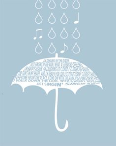 I so love everything about this. Simple, neat, and happy. Singing in the Rain LYRICS Gene Kelly Art by modernhomeprints