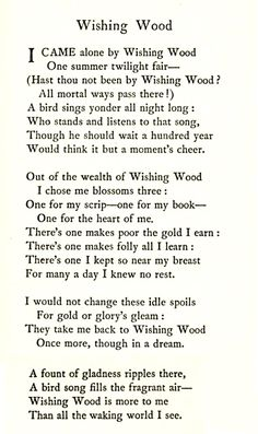 Wishing wood  By Agnes S. Falconer  (Circa !911)