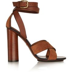 Gucci Leather and suede sandals found on Polyvore featuring polyvore, fashion, shoes, sandals, gucci, brown, brown shoes, real leather shoes, wrap around sandals and gucci sandals #brownsandalsheels