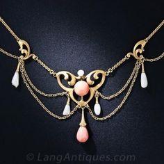 Art Nouveau Coral and Pearl Necklace by Krementz