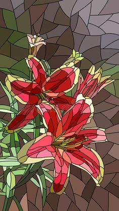 Illustration about Vector vertical mosaic with large cells of pink lily. Illustration of blossom, vector, abstract - 59598007 Mosaic Flowers, Stained Glass Flowers, Faux Stained Glass, Stained Glass Patterns, Mosaic Patterns, Abstract Flowers, Mosaic Diy, Mosaic Garden, Mosaic Glass