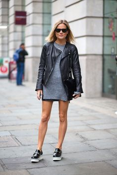 a good leather jacket goes with anything. the combination of grey and black is always a good choice.
