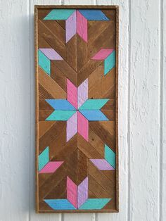 "Wood Wall Art, Wood Wall Decor, Reclaimed Wood, Multicolored Star, 13""x27""…"