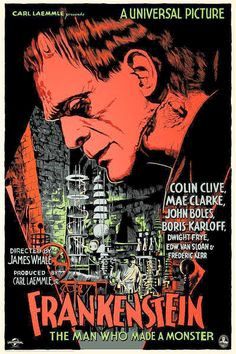 Movie Posters:Horror, Frankenstein (Mondo, Hand Numbered Limited Edition ScreenPrint Poster X Francesco Francavilla Artwo. Monster Horror Movies, Horror Monsters, Frankenstein 1931, Tv Movie, Horror Movie Posters, Classic Monsters, Alternative Movie Posters, Vintage Horror, Foto Art
