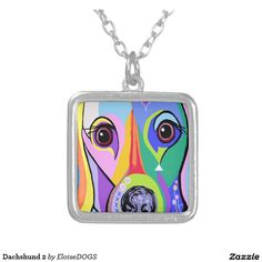 Dachshund 2 square pendant necklace