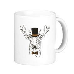 British Style Gentle Beard Deer With Glass Hat Bow Tie Animal Illustration Pattern Classic Mug White Pottery Ceramic Cup Milk Coffee With Handles 350 ml