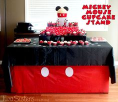 Mickey Mouse Cupcake Stand for a Mickey Mouse Birthday Party #MickeyMouseParty #MinnieMouseParty #TwoSistersCrafting