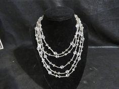 """Jahrgang handgemachte Glasperle Halskette - Verschluss, 88"""" Verschluss lang! Klaren Perlen-3 Größen der Perlen-nie getragen - hat Original Preisschild-schöne"""