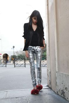 silver metallic pants