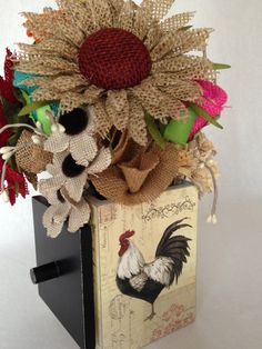 country french flower arrangements | French Country Burlap Flower Arrangement by ThePetalHouse on Etsy
