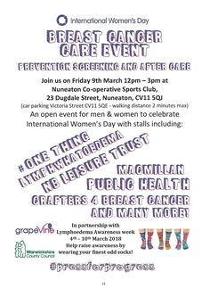 Thrilled to have been working on this event and that #LWO and #LymphoedemaAwarenessWeek is being recognised in Nuneaton & Bedworth in the official #InternationalWomensDay events.