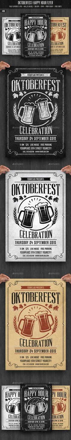 Oktobefest / Happy Hour Flyer — Photoshop PSD #chalkboard flyer #birthday • Available here → https://graphicriver.net/item/oktobefest-happy-hour-flyer/12755962?ref=pxcr