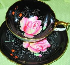 AYNSLEY PINK ROSE BLACK GOLD TEA CUP AND SAUCER