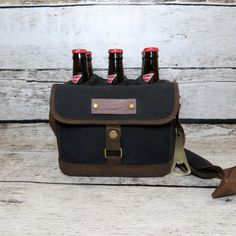 Personalized Beer Cooler Canvas Drink Tote Sports by donebetter