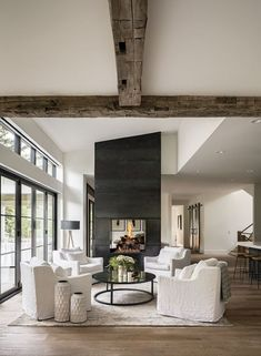 Entrepreneur Laura Love's Denver Home In this Observatory Park abode, Napa Valley-style farmhouse and Southern hospitality live happily ever after. Living Room Interior, Home Living Room, Living Room Designs, Living Room Decor, Living Spaces, 4 Chair Living Room Arrangement, Windows In Living Room, Living Room 4 Chairs, Wall Of Windows