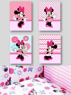 Minnie Mouse - Pink Gallery Wall Art Prints Girls Room by SnazzyZebraGalleria on Etsy Minnie Mouse Stickers, Minnie Mouse Theme, Pink Minnie, Mickey Mouse Birthday, Idee Baby Shower, Baby Shower Deco, Painting For Kids, Diy Painting, Mickey Mouse Kunst
