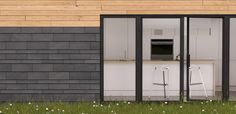 Natural slate and wood, rustic and contemporary combination ... love slate!   #architecture #slate #wood