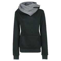 Charcoal Camouflage-Contrast Cowl Neck Hoodie | Women's ...