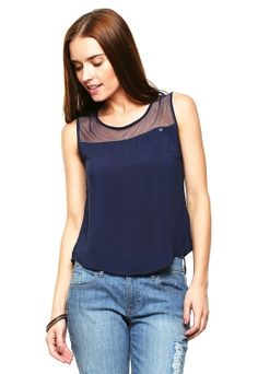 Blusa Azul Marino sin Mangas con Transparencias - Anna Flynn. ropa de moda