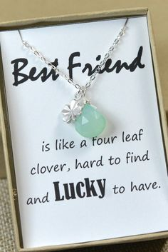Four Leaf Clover Necklace,Best Friend Gift,Christmas Gift,Shamrock Necklace,Gold,silver,Pendant necklace,best friend,clover necklace on card