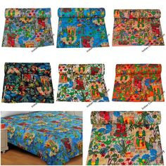 Handmade Cotton Quilt KIng & Twin Size Quilt Jaipuri Quilt Home Decor Bedding Quilt Throw Floral Bedspread, Floral Quilts, Bohemian Quilt, Boho, Twin Quilt Size, Indian Quilt, Indian Blankets, Quilted Bedspreads, Kantha Quilt