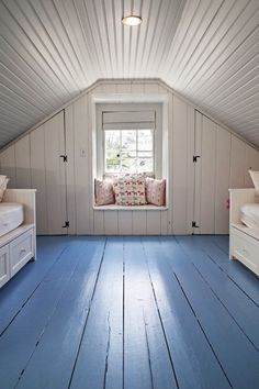 Shiplap, bead board, and plank floors.