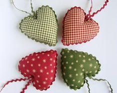 Cotton Fabric Hearts, Christmas Tree Ornaments, Set of Party Favors, Rustic Decor, Country Decora Set of Dimensions about 9 x 9 cm x If you have any questions regarding this item please contact me. Christmas Tree Yarn, Fabric Christmas Ornaments, Christmas Hearts, Christmas Ornament Sets, Felt Ornaments, Handmade Christmas, Christmas Tree Decorations, Etsy Christmas, Heart Ornament