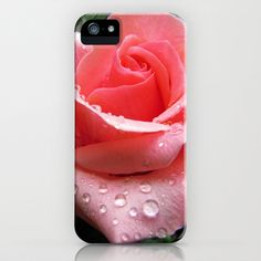 Pink Rose with Dew iPhone & iPod Case by Bluedarkat Lem - $35.00