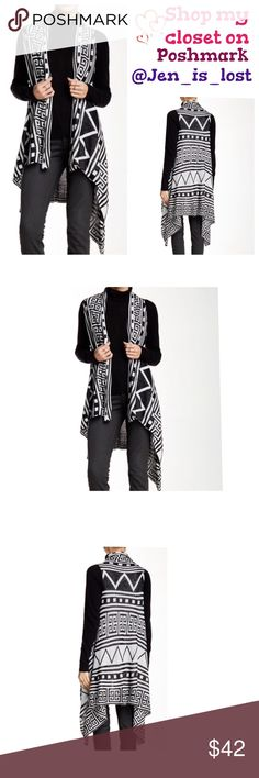 """🚨🚚 Moving Sale 🚚🚨 Printed Knit Vest  XS Printed Knit Vest XS - Draped neck - Open front - Sleeveless - Allover print - Approx. 24"""" shortest length, 35"""" longest length Fiber Content: 100% rayon Care: Machine wash.  🚫No Trades🚫 ✅Reasonable Offers Are Considered✅ Use the blue offer button. Jackets & Coats Vests"""
