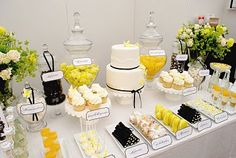 black, white and yellow dessert table  Leigh?