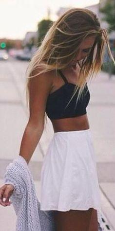 #street #style summer / crop top + white skirt