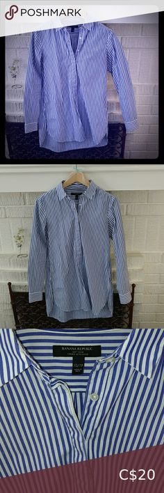 BR Stripe Popover Tunic Shirt Lovely blue and white striped tunic in soft wash cotton. Very good condition. Faded blue looks great with jeans.  Hits upper thigh. Long sleeves, button cuffs. Point collar.  Half button-front placket closure. Curved shirttail hem. Pleat at rear yoke seam. Banana Republic Tops Tunics Tunic Shirt, Tunic Tops, Shirt Dress, Point Collar, Banana Republic Tops, Plus Fashion, Fashion Trends, Looks Great, Thighs