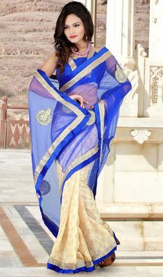 Blue and Cream Jacquard Net Half N Half Saree Price: Usa Dollar $84, British UK Pound 50£, Euro62, Canada CA$91 , Indian Rs4536.