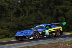 """Lone Star Racing tackling the slick blacktop of Virginia International Raceway with the 18"""" Continentals of their N° 80 Dodge Viper GT3-R during the 2016 IMSA Michelin GT Challenge."""